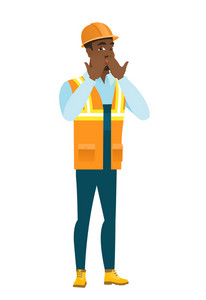 Shoked african-american builder covering mouth with hand. Full length of young shoked builder. Builder with a shocked facial expression. Vector flat design illustration isolated on white background.