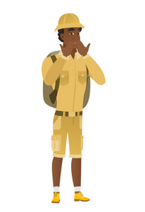 Shoked african-american traveler covering his mouth with hand. Full length of shoked traveler. Traveler with a shocked facial expression. Vector flat design illustration isolated on white background.