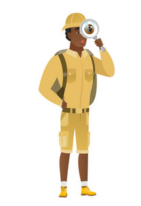 Shoked african traveler with magnifying glass. Full length of traveler with magnifying glass. Traveler looking through a magnifying glass. Vector flat design illustration isolated on white background.