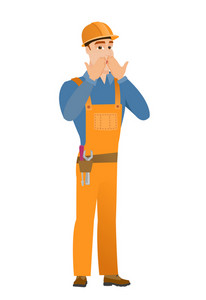 Shoked caucasian builder covering his mouth with hand. Full length of young shoked builder. Builder with a shocked facial expression. Vector flat design illustration isolated on white background