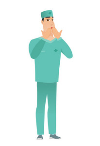 Shoked caucasian doctor in uniform covering his mouth with hand. Full length of shoked doctor. Doctor with a shocked facial expression. Vector flat design illustration isolated on white background.