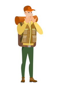 Shoked caucasian traveler covering his mouth with hand. Full length of shoked traveler. Traveler with a shocked facial expression. Vector flat design illustration isolated on white background.