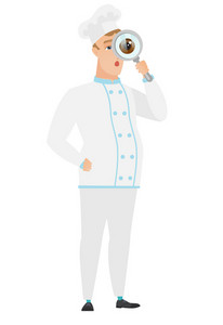 Shoked chef cook with magnifying glass. Full length of chef cook with magnifying glass. Chef cook looking through a magnifying glass. Vector flat design illustration isolated on white background.