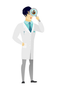 Shoked doctor with magnifying glass. Full length of doctor with magnifying glass. Doctor in medical gown looking through a magnifying glass Vector flat design illustration isolated on white background