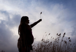 Silhouette outdoor portrait of pregnant woman on meadow