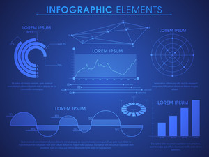 Simple Blue Infographics with various statistics and chart
