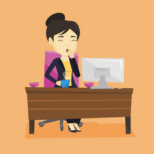 Sleepy tired business woman holding cup of coffee and yawning while working in office. Exhausted business woman yawning and drinking coffee at work. Vector flat design illustration. Square layout.