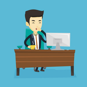 Sleepy tired businessman holding cup of coffee and yawning while working in office. Exhausted businessman yawning and drinking coffee at work in office. Vector flat design illustration. Square layout.