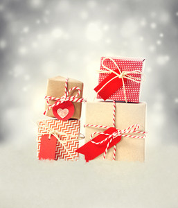 Small Handmade gift boxes in snowy night