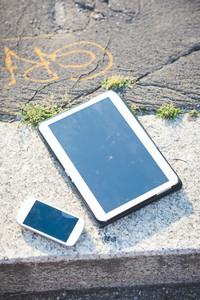 Smart phone and tablet isolated - electronic devices, technology, internet concept