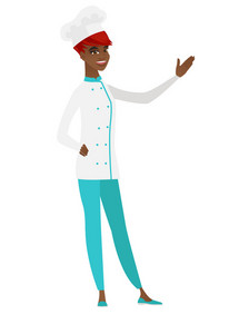 Smiling african-american chef cook showing a direction. Full length of chef cook pointing at something and showing a direction by her hand. Vector flat design illustration isolated on white background