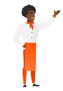 Smiling african-american chef cook showing a direction. Full length of chef cook pointing at something and showing a direction by his hand. Vector flat design illustration isolated on white background