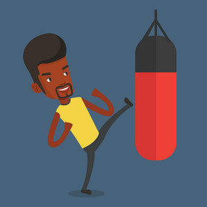 Smiling african-american male boxer exercising with boxing bag. Male boxer hitting heavy bag during training. Male boxer training with the punch bag. Vector flat design illustration. Square layout.