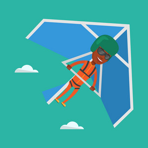 Smiling african-american man flying on hang-glider. Sportsman taking part in hang gliding competitions. Man having fun while gliding on delta-plane. Vector flat design illustration. Square layout.