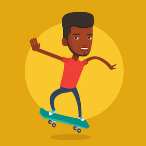 Smiling african-american man riding a skateboard. Happy sportswoman skateboarding. Young skater riding a skateboard. Sportsman jumping with skateboard. Vector flat design illustration. Square layout.