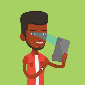 Smiling african-american man using smart mobile phone with retina scanner. Young happy man using iris scanner to unlock his mobile phone. Vector flat design illustration. Square layout.