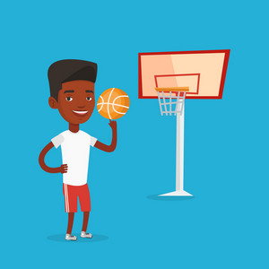 Smiling african-american sportsman spinning basketball ball on his finger. Young basketball player standing on the court. Basketball player in action. Vector flat design illustration. Square layout.