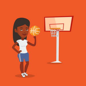 Smiling african-american sportswoman spinning basketball ball on her finger. Young basketball player standing on the court. Basketball player in action. Vector flat design illustration. Square layout.