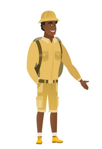 Smiling african-american traveler with his hand in his pocket. Full length of young happy traveler holding his hand in the pocket of pants. Vector flat design illustration isolated on white background