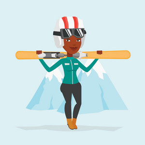 Smiling african-american woman carrying skis. Sportswoman standing with skis on shoulders on the background of snow capped mountain. Young woman skiing. Vector flat design illustration. Square layout.