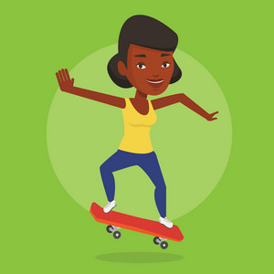 Smiling african-american woman riding a skateboard. Sportswoman skateboarding. Young skater riding a skateboard. Sportswoman jumping with skateboard. Vector flat design illustration. Square layout.