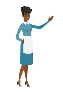 Smiling african cleaner showing a direction. Full length of young female cleaner pointing at something and showing a direction by her hand. Vector flat design illustration isolated on white background