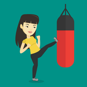 Smiling asian boxer woman exercising with boxing bag. Kickbox fighter hitting heavy bag during training. Female boxer training with the punch bag. Vector flat design illustration. Square layout.