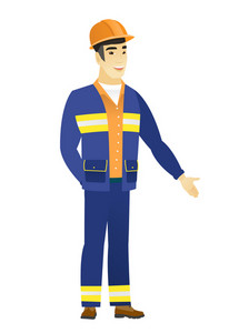 Smiling asian builder with his hand in his pocket. Full length of young happy builder holding his hand in the pocket of pants. Vector flat design illustration isolated on white background.