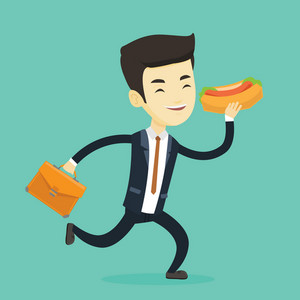 Smiling asian business man in a hurry eating hot dog. Business man with briefcase eating on the run. Young business man running and eating hot dog. Vector flat design illustration. Square layout.