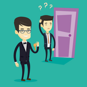 Smiling asian business man showing key on the background of young thoughtful man looking at door. Concept of making the right decision in business. Vector flat design illustration. Square layout.