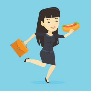 Smiling asian business woman in a hurry eating hot dog. Business woman with briefcase eating on the run. Young business woman running and eating hot dog. Vector flat design illustration. Square layout