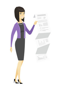 Smiling asian business woman showing document with business presentation. Full length of young business woman giving business presentation. Vector flat design illustration isolated on white background