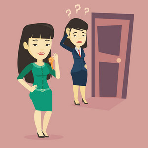 Smiling asian business woman showing key on the background of young thoughtful woman looking at door. Concept of making the right decision in business. Vector flat design illustration. Square layout.