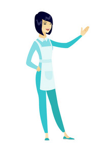 Smiling asian cleaner showing a direction. Full length of young female cleaner pointing at something and showing a direction by her hand. Vector flat design illustration isolated on white background.