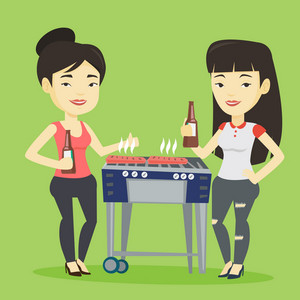 Smiling asian female friends having a barbecue party. Friends preparing barbecue and drinking beer. Group of friends having fun at a barbecue party. Vector flat design illustration. Square layout.