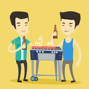 Smiling asian male friends having a barbecue party. Friends preparing barbecue and drinking beer. Group of friends having fun at a barbecue party. Vector flat design illustration. Square layout.