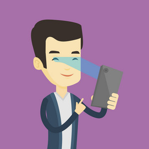 Smiling asian man using smart mobile phone with retina scanner. Young happy man using iris scanner to unlock his mobile phone. Vector flat design illustration. Square layout.