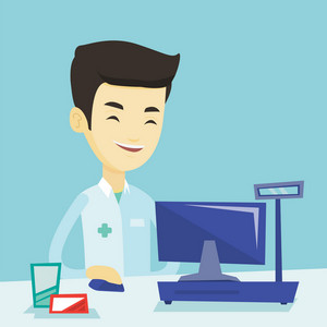 Smiling asian pharmacist in medical gown standing at the pharmacy counter. Happy pharmacist in the drugstore. Young pharmacist working on a computer. Vector flat design illustration. Square layout.