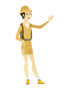 Smiling asian traveler showing a direction. Full length of young traveler pointing at something and showing a direction by her hand. Vector flat design illustration isolated on white background.