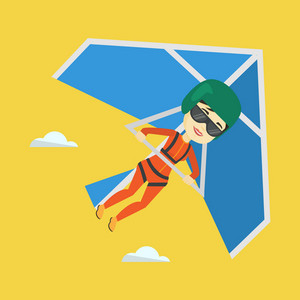 Smiling asian woman flying on hang-glider. Sportswoman taking part in hang gliding competitions. Woman having fun while gliding on delta-plane in sky. Vector flat design illustration. Square layout.