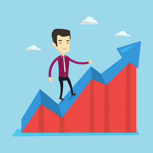 Smiling business man standing on profit chart. Asian successful business man running along the profit chart. Concept of business profit. Vector flat design illustration. Square layout.