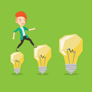 Smiling business woman hopping onto idea light bulbs. Caucasian cheerful business woman jumping on idea light bulbs. Concept of business idea. Vector flat design illustration. Square layout.