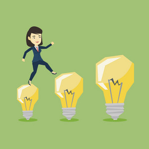 Smiling business woman hopping onto idea light bulbs. Young asian business woman jumping on idea light bulbs. Concept of successful business idea. Vector flat design illustration. Square layout.