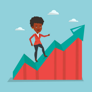 Smiling business woman standing on profit chart. African-american successful business woman running along the profit chart. Concept of business profit. Vector flat design illustration. Square layout.