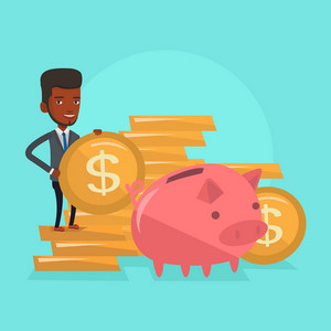 Smiling businessman putting money in a big pink piggy bank. An african-american businessman saving his money in piggy bank. Concept of saving money. Vector flat design illustration. Square layout.
