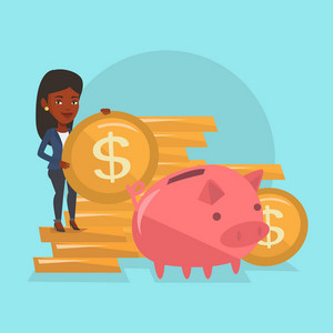 Smiling businesswoman putting money in a big pink piggy bank. An african-american businesswoman saving her money in piggy bank. Concept of saving money. Vector flat design illustration. Square layout.
