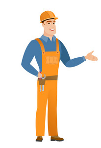 Smiling caucasian builder with his hand on tool belt with screwdriver and wrench. Full length of young happy builder wearing tool belt. Vector flat design illustration isolated on white background.