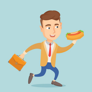 Smiling caucasian business man in a hurry eating hot dog. Business man with briefcase eating on the run. Young business man running and eating hot dog. Vector flat design illustration. Square layout.