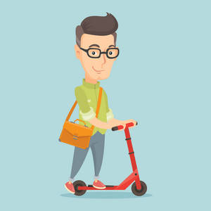 Smiling caucasian business man riding a kick scooter. Business man with briefcase riding to work on kick scooter. Business man on a kick scooter. Vector flat design illustration. Square layout.