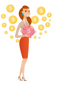 Smiling caucasian business woman holding a pink piggy bank with dollar sign. Full length of young business woman with piggy bank in hands. Vector flat design illustration isolated on white background.